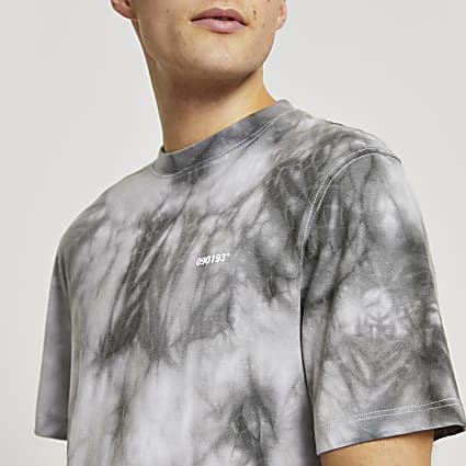 Grey tie dye short sleeve t-shirt