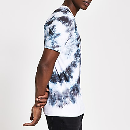 Grey tie dye slim fit T-shirt
