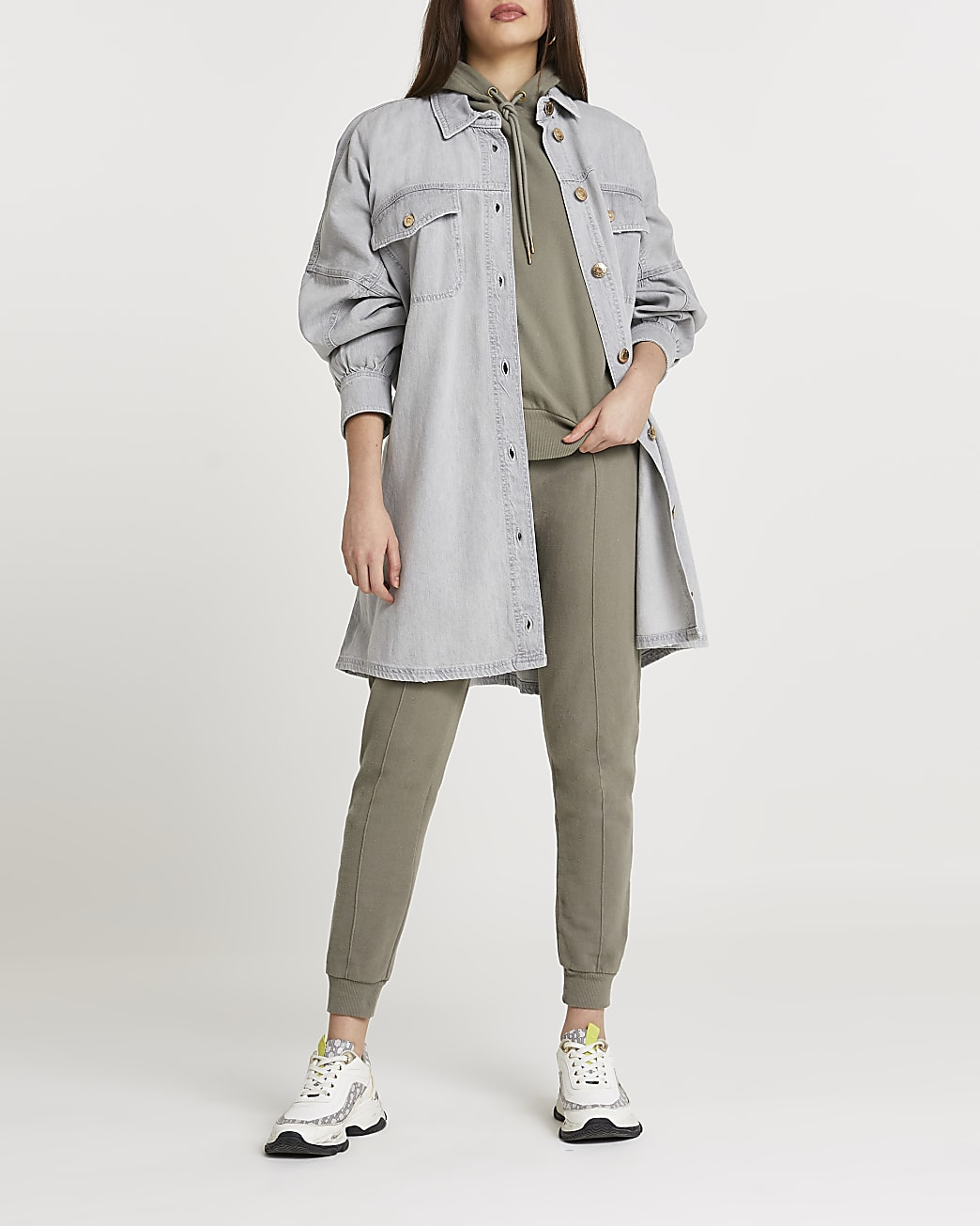 Grey tie waist shirt dress