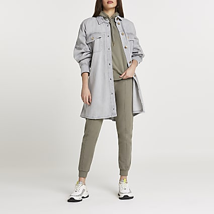 Grey tie waist shirt dress