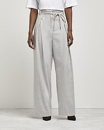Grey tie waist wide leg trousers