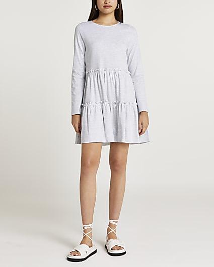 Grey tiered mini dress