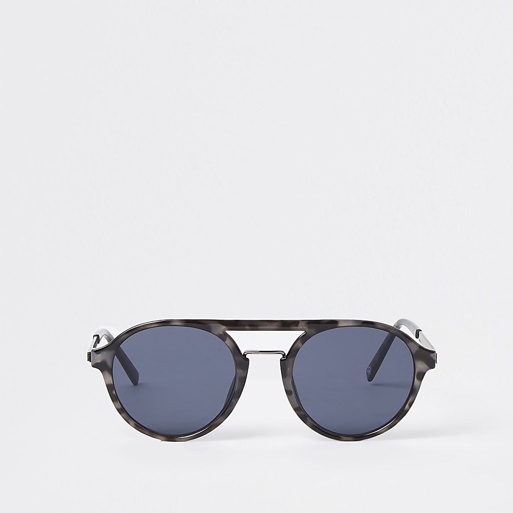 Grey tortoise shell aviator sunglasses
