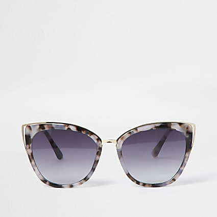 Grey tortoiseshell cateye sunglasses