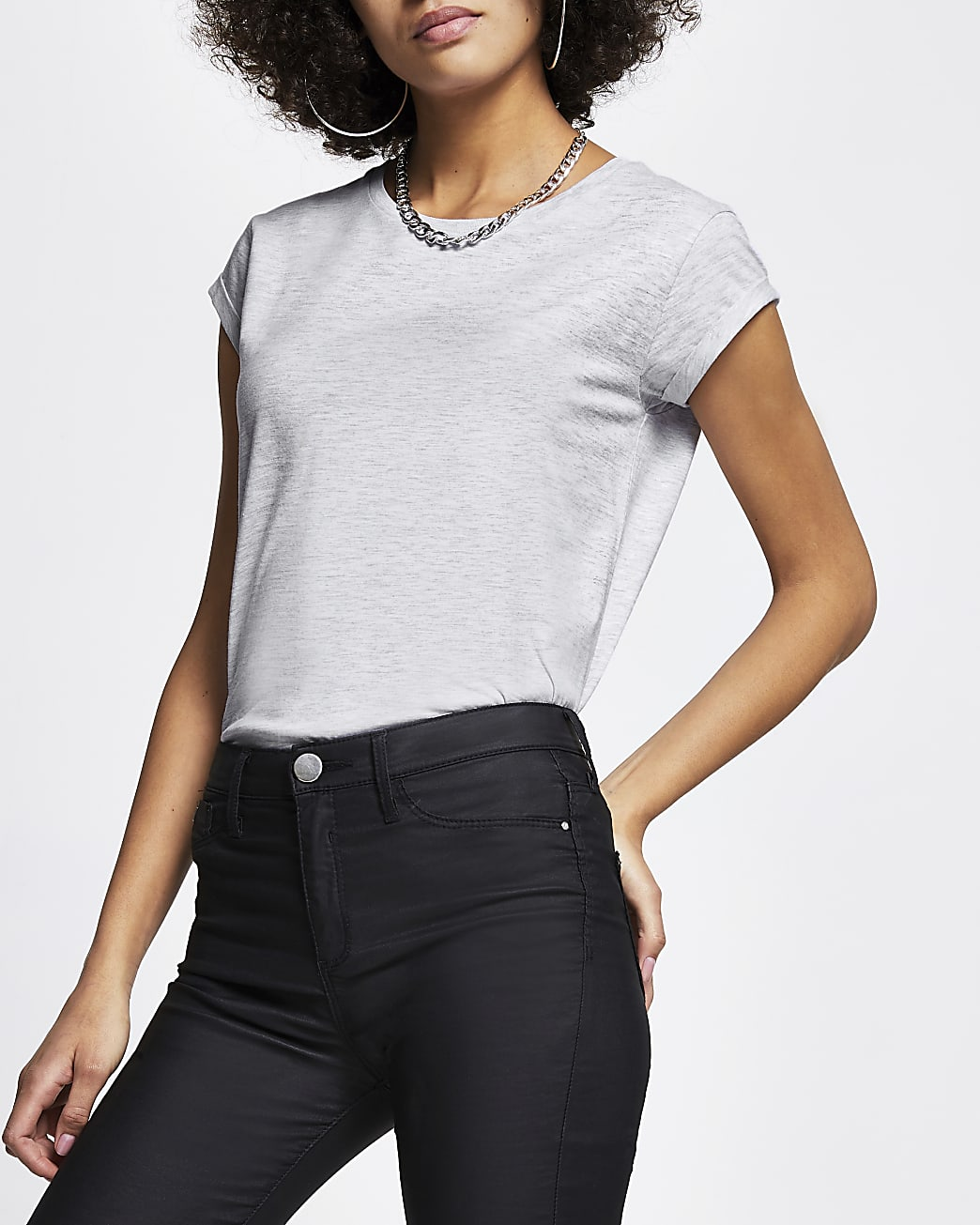 Grey turn back short sleeve t-shirt