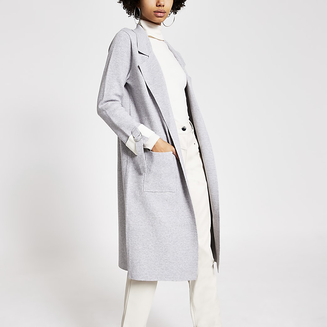 Grey turn-up sleeve knitted duster jacket