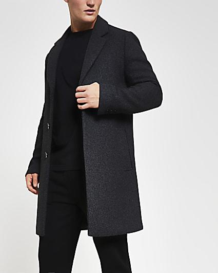 Grey twill button down wool coat