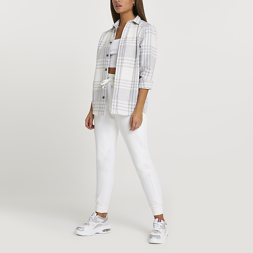 Grey twill check shirt