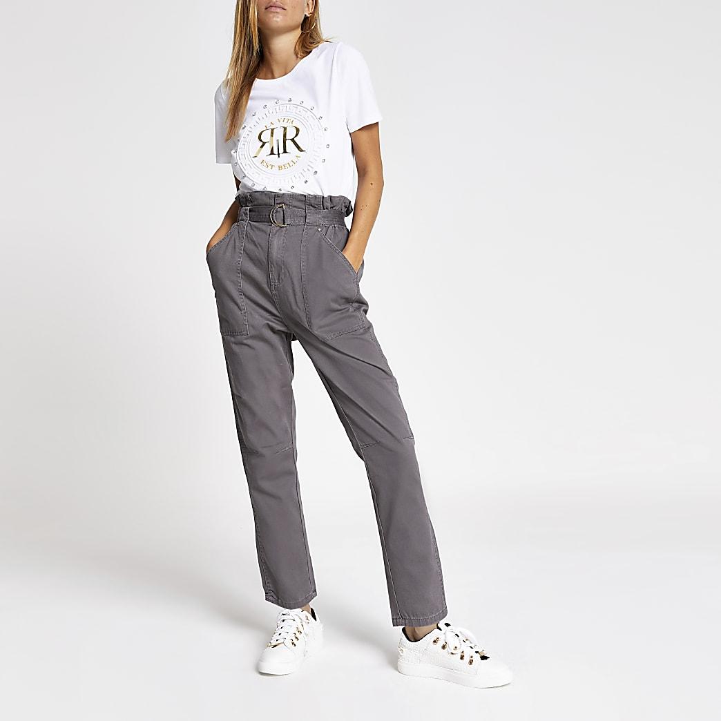 Pantalon fonctionnel en sergé gris à taille haute ceinturée