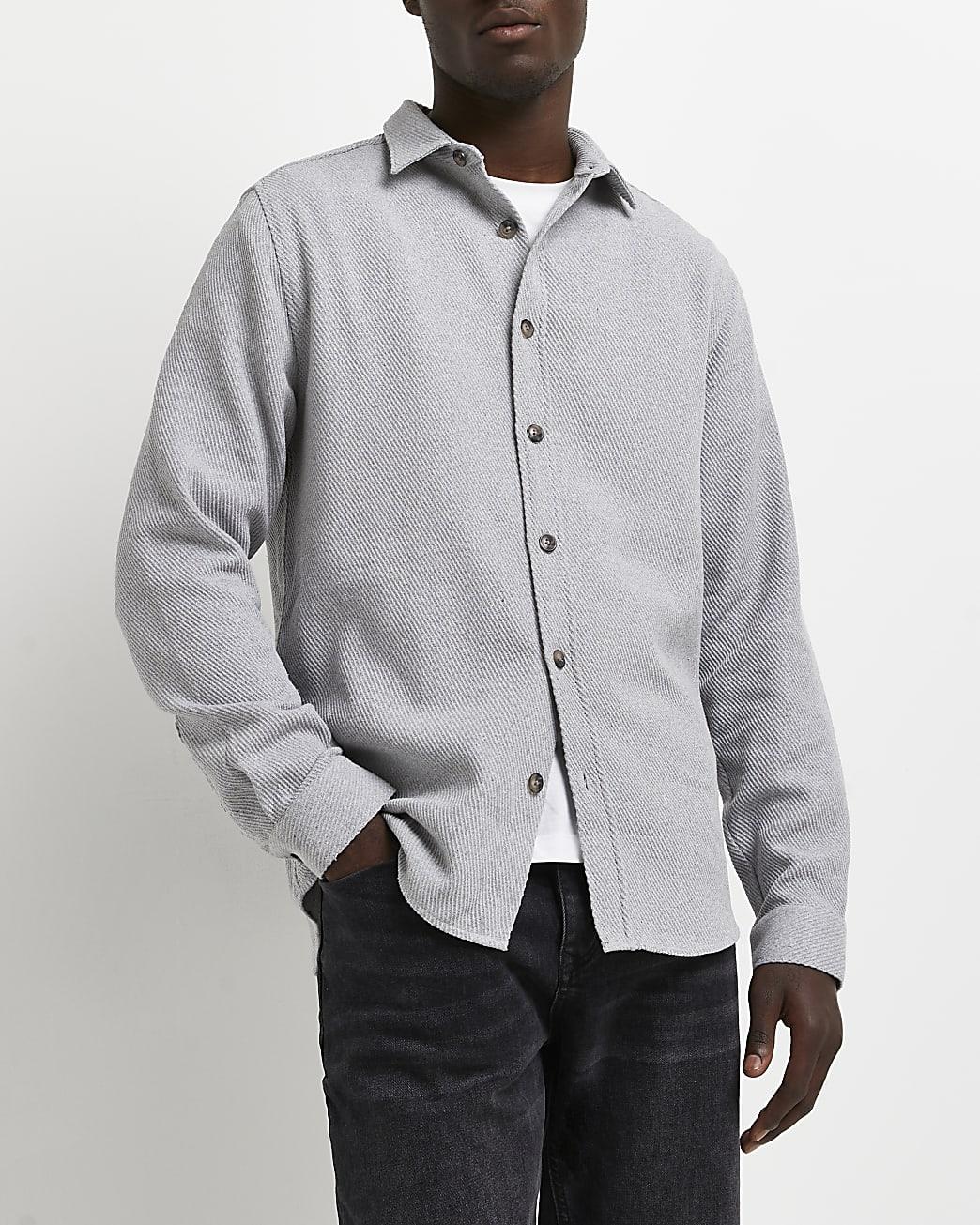 Grey twill regular fit long sleeve shirt