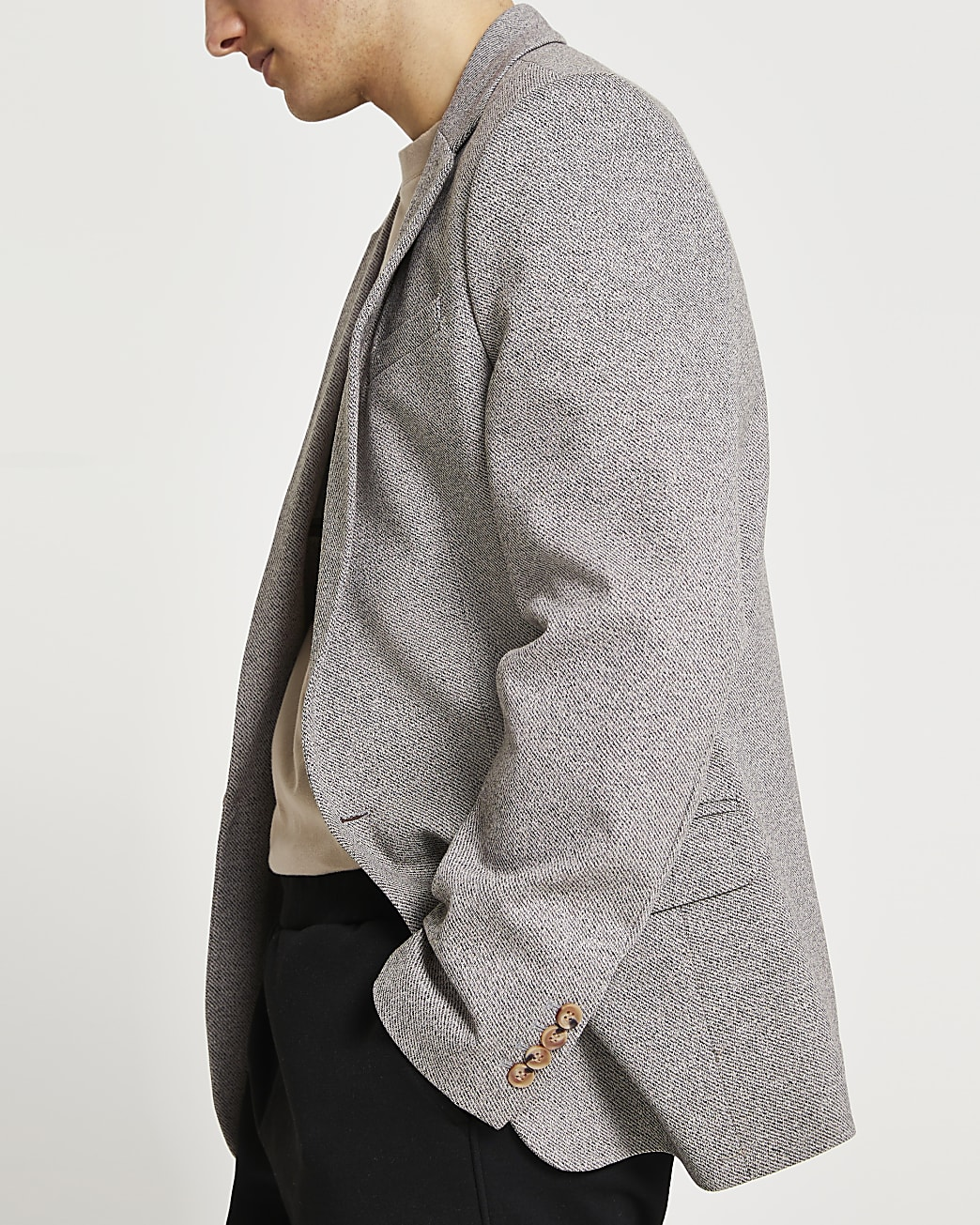 Grey twill slim fit blazer