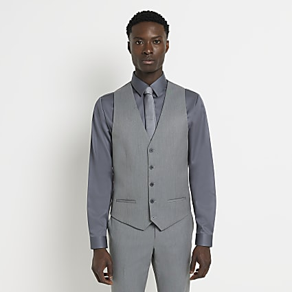 Grey twill suit waistcoat
