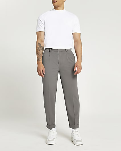 Grey twill tapered fit trousers