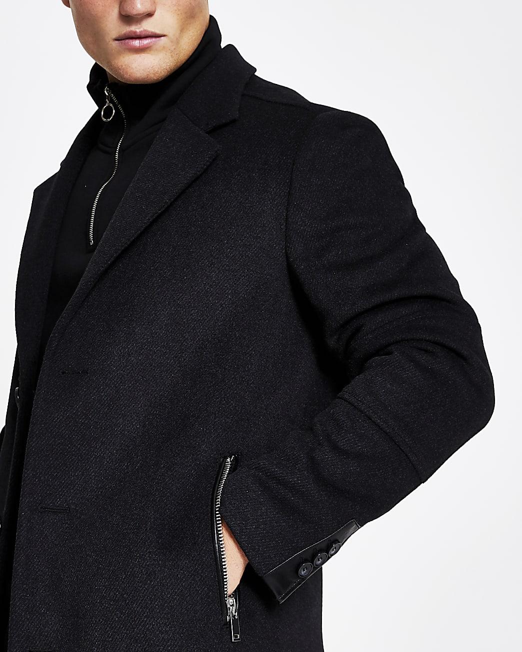 Grey twill zip pocket button up overcoat