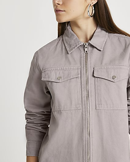 Grey twill zip through shacket