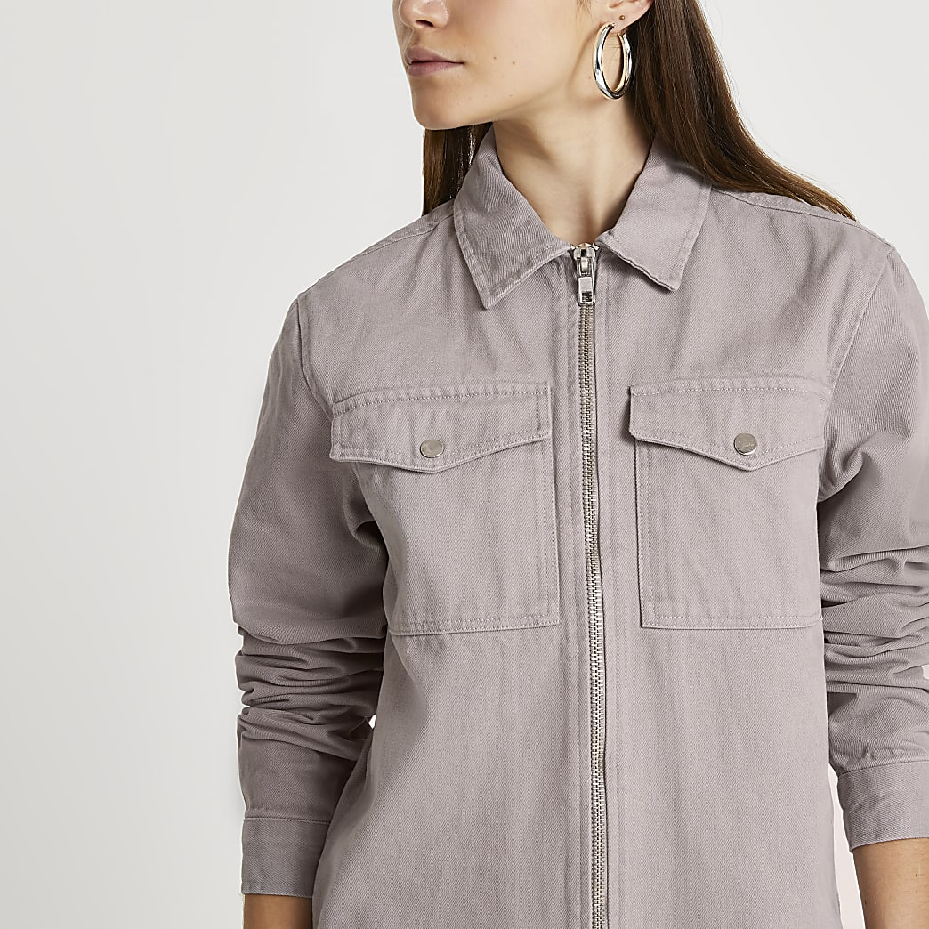 Grey twill zip through shacket