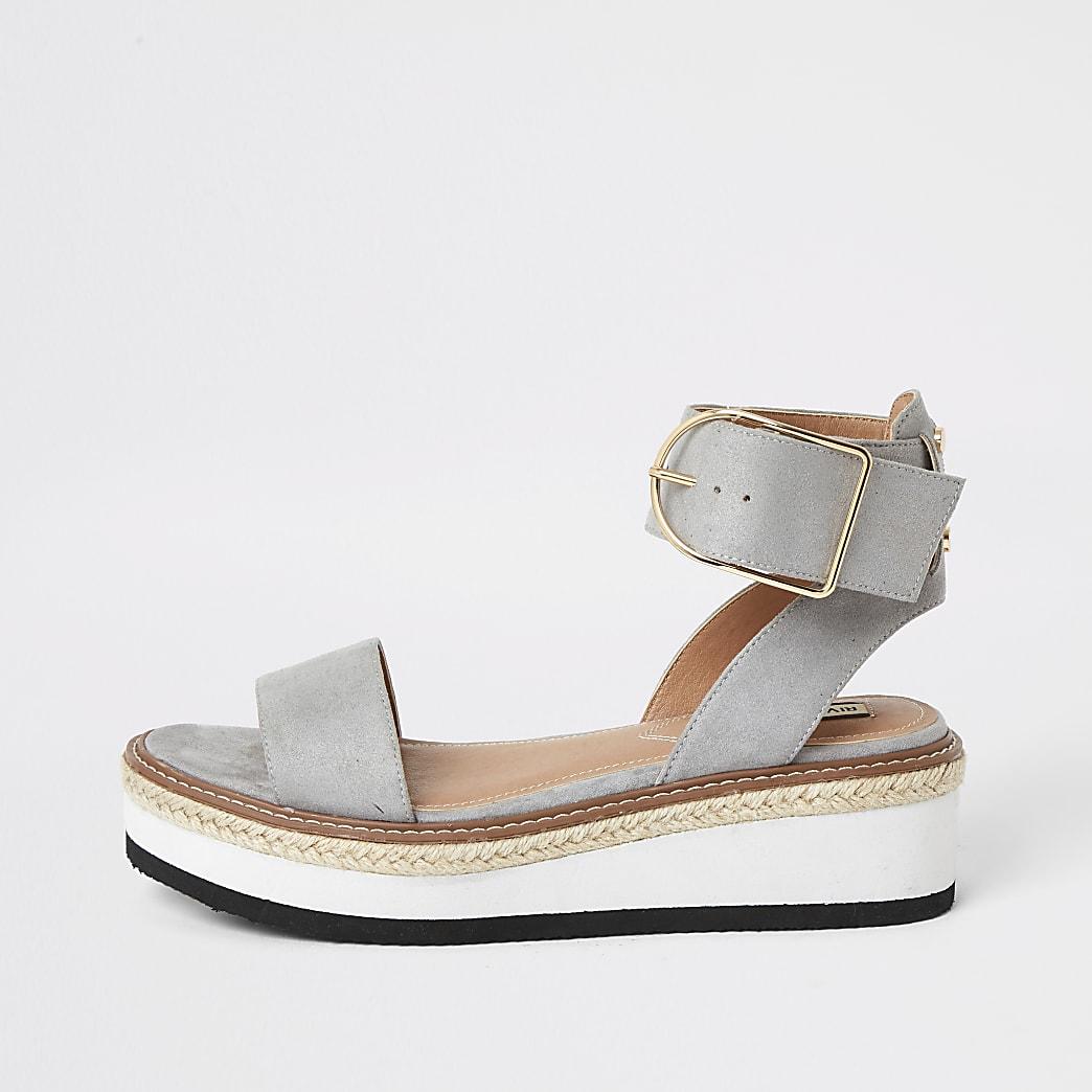 Grijze tweedelige sandalen met plateauzool