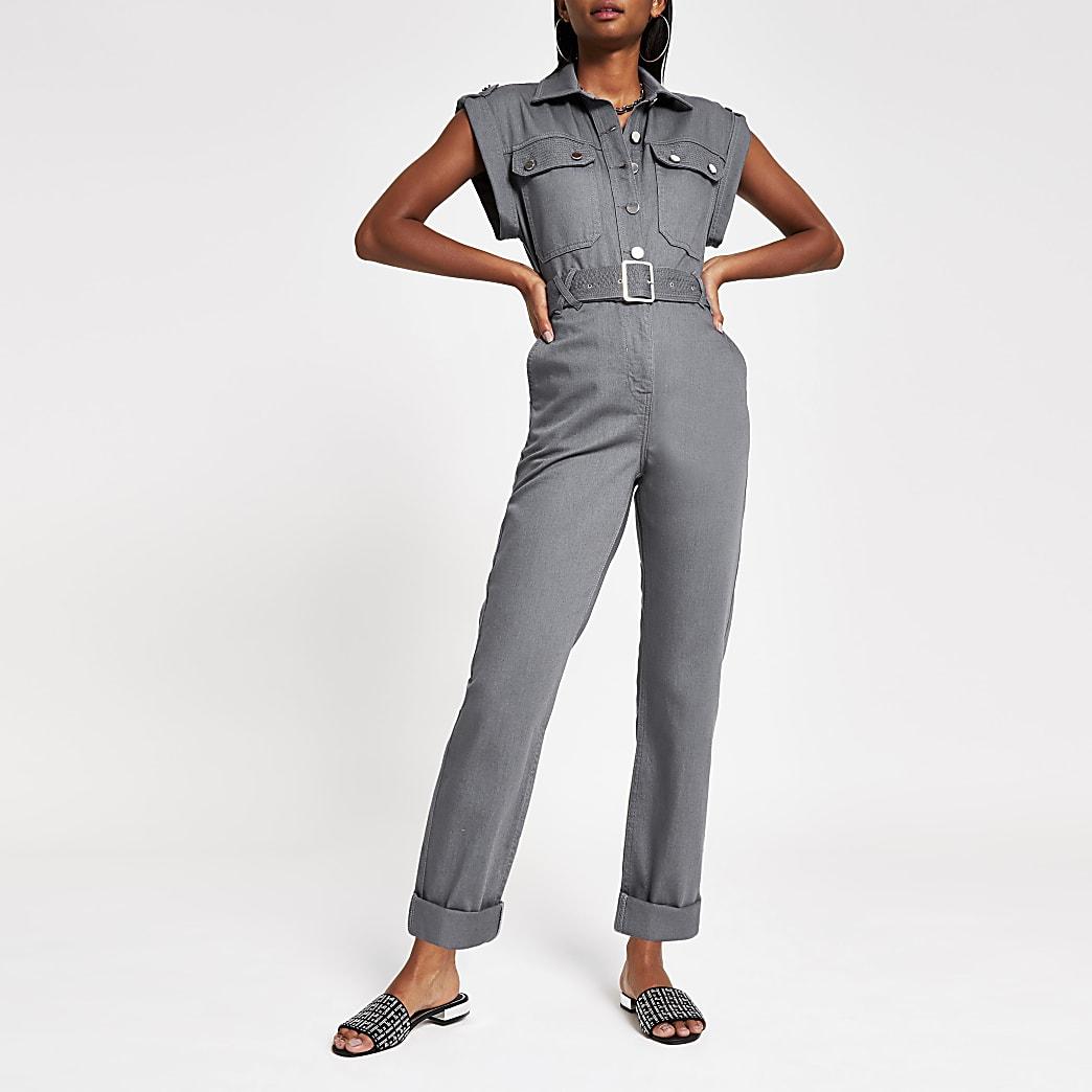 Grey utility boiler jumpsuit