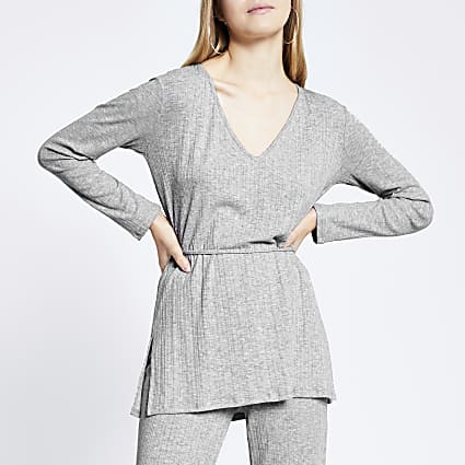 Grey v neck tie waist ribbed tunic top