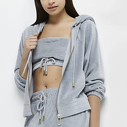 Grey velour lounge long sleeve hoodie