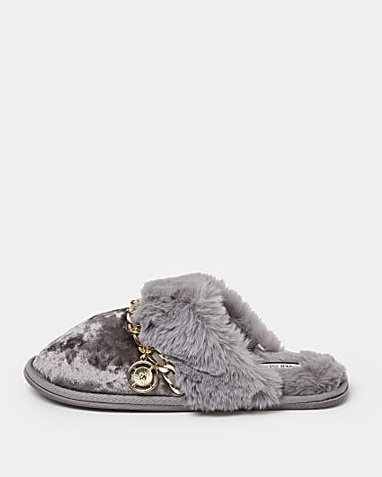 Grey velvet faux fur trim slippers