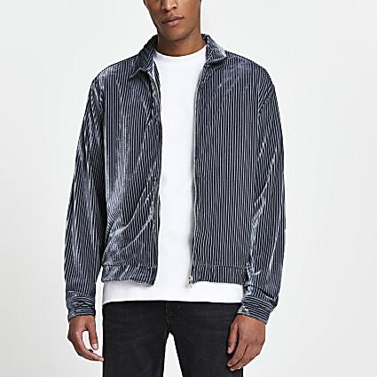 Grey velvet stripe zip through shacket