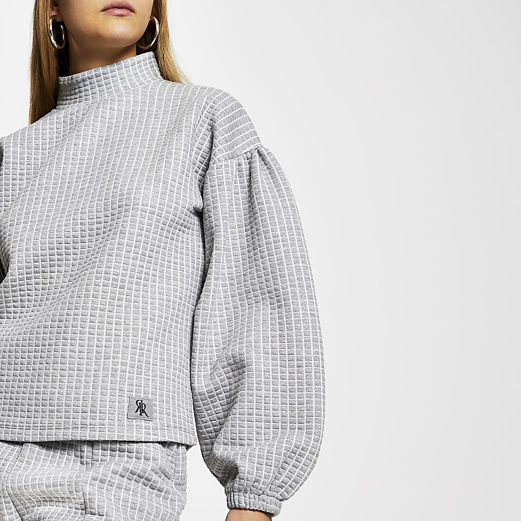 Grey waffle high neck RI puff sleeve jumper