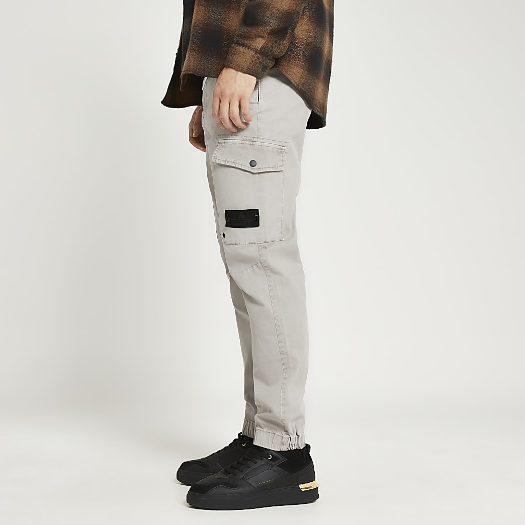 Grey washed cargo trousers
