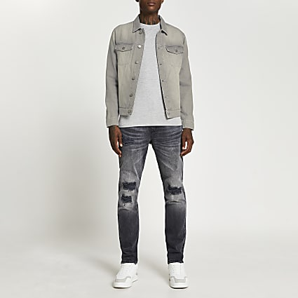 Grey washed denim jacket
