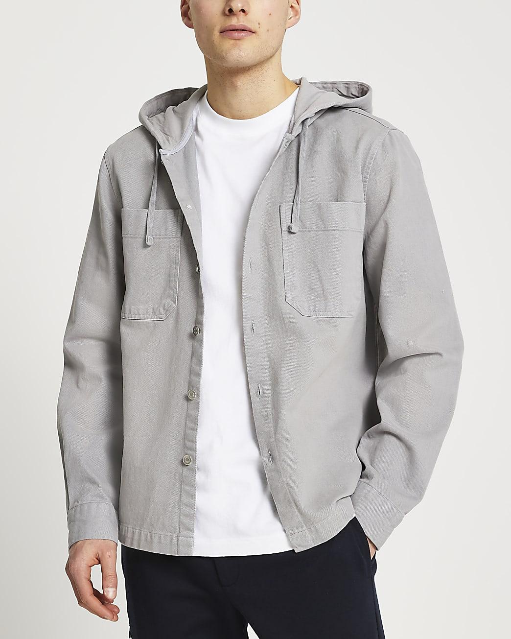 Grey washed hooded shacket
