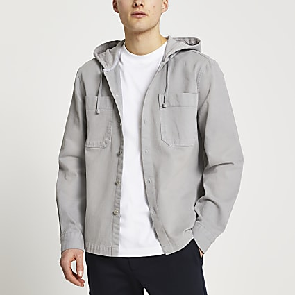 Grey washed hooded shacket