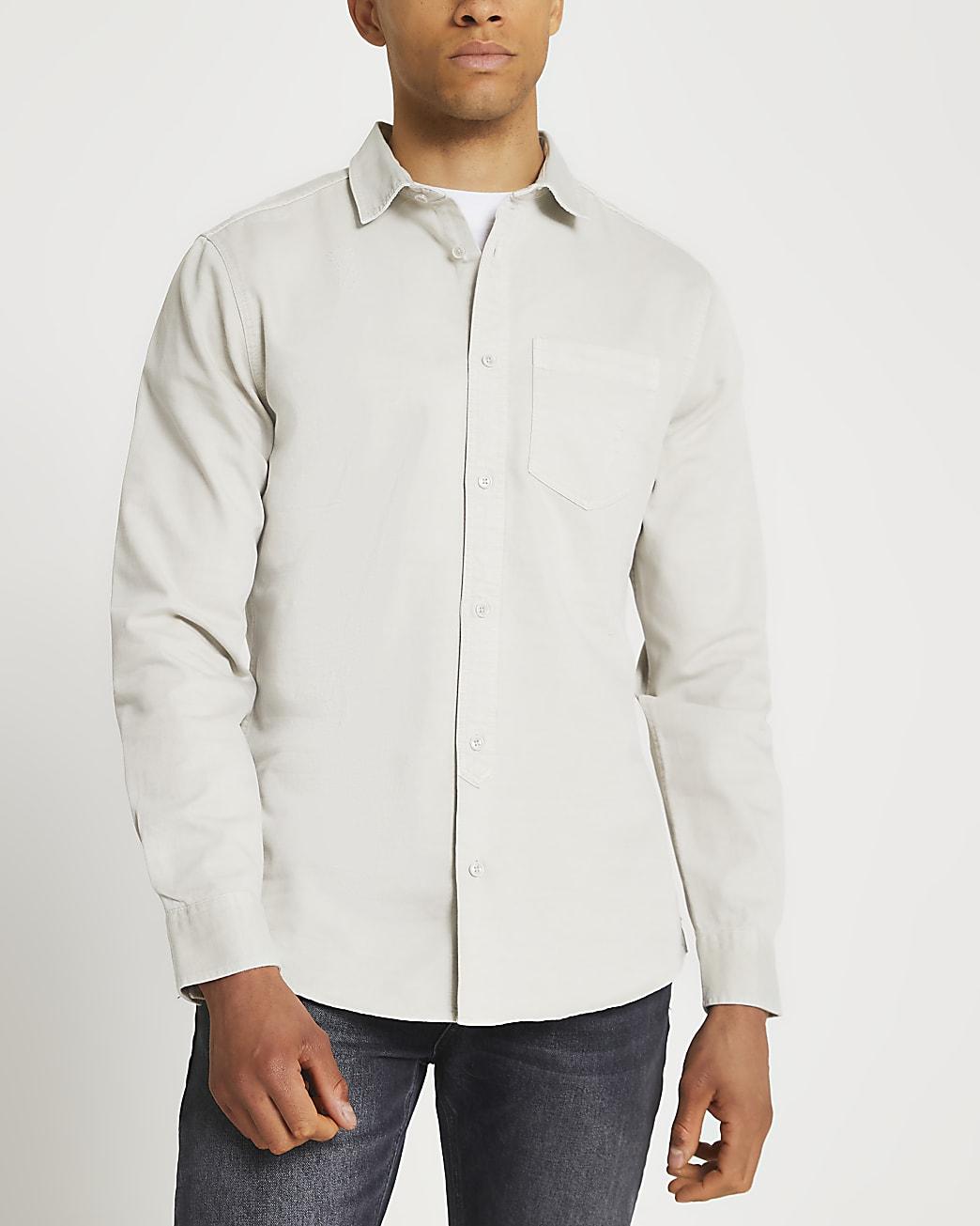 Grey washed long sleeve shirt