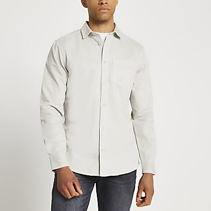 Grey washed long sleeve shirt