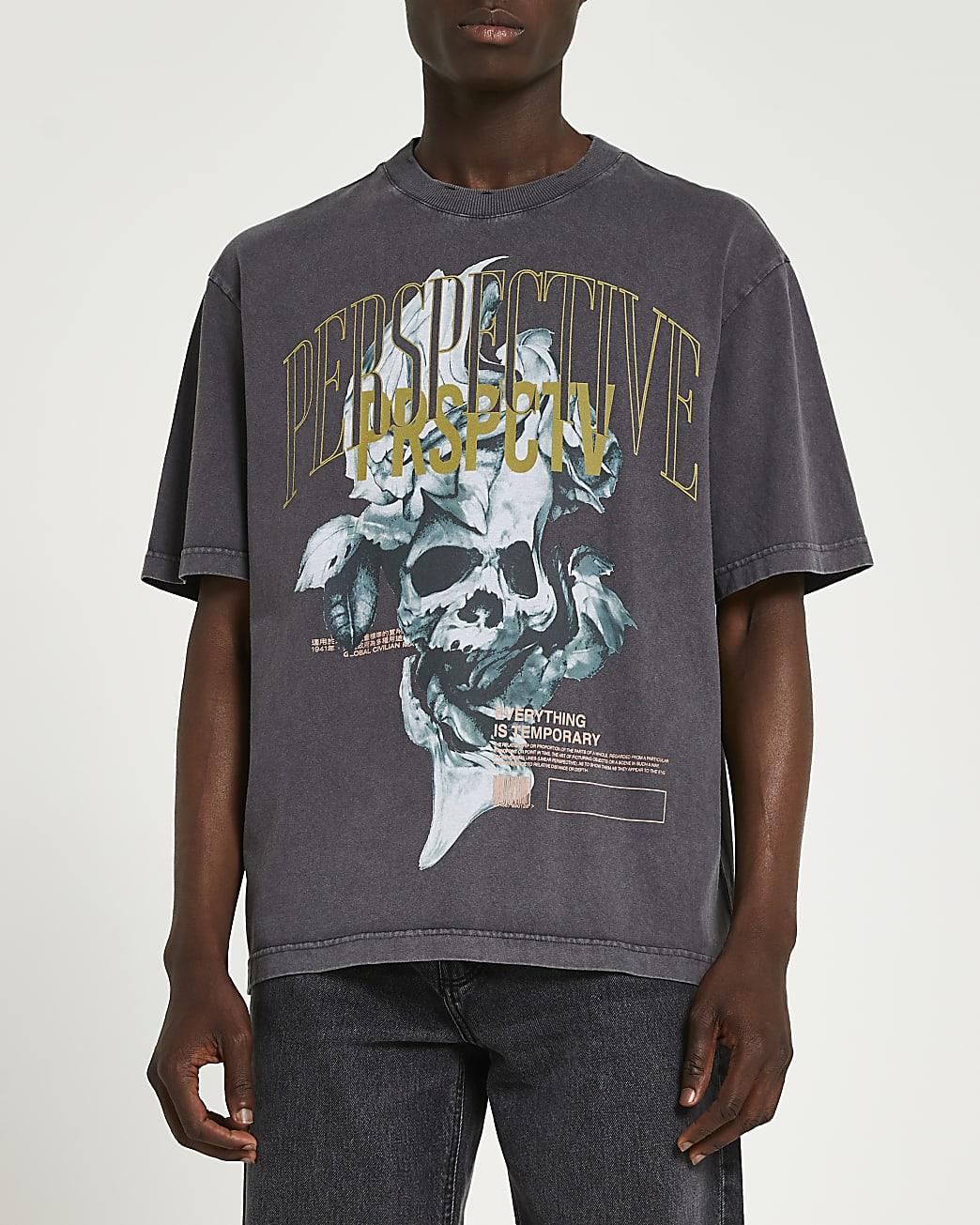 Grey washed oversized graphic skull t-shirt