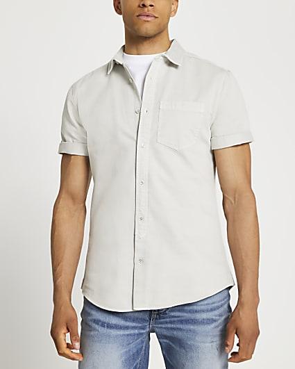 Grey washed short sleeve shirt