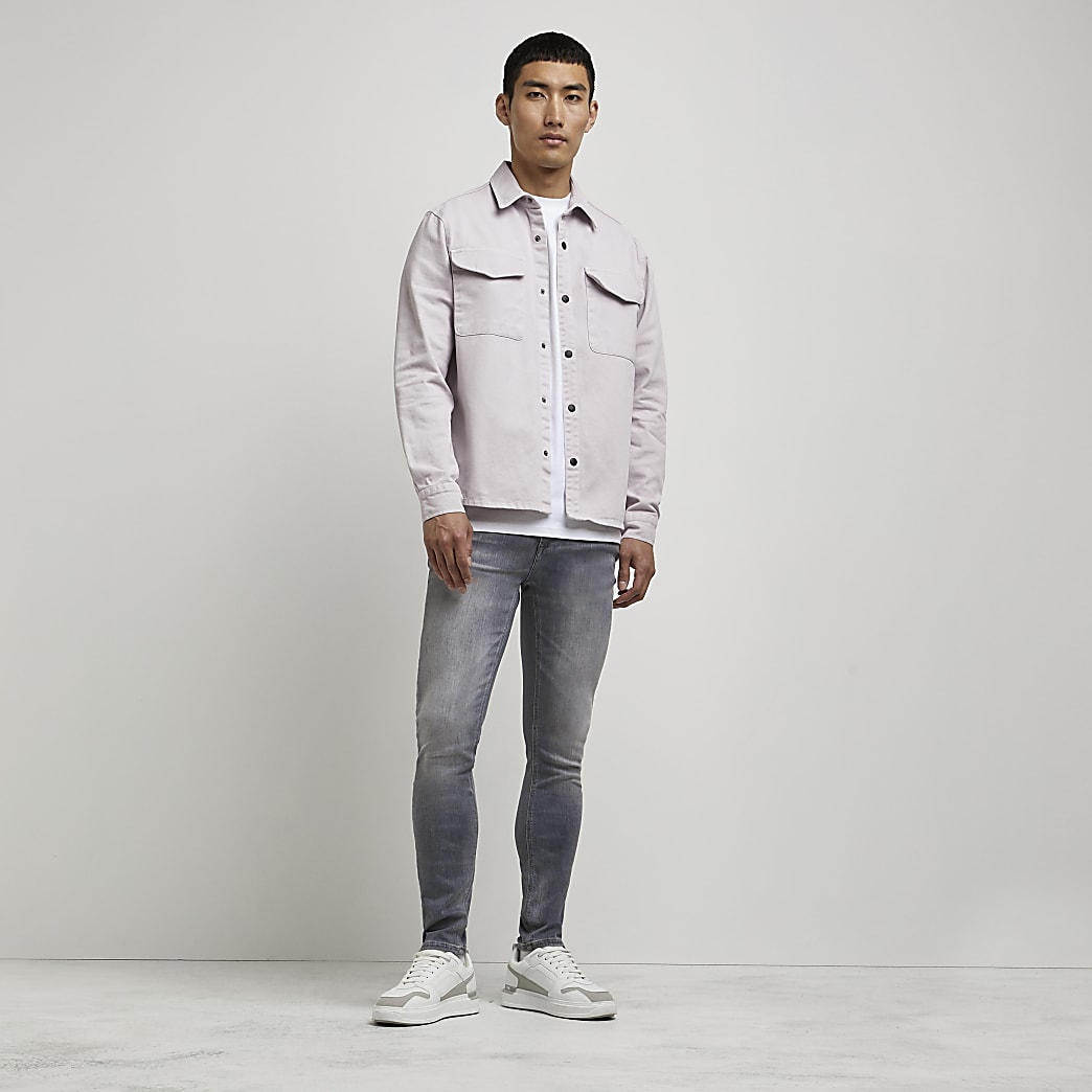 Grey washed skinny fit jeans