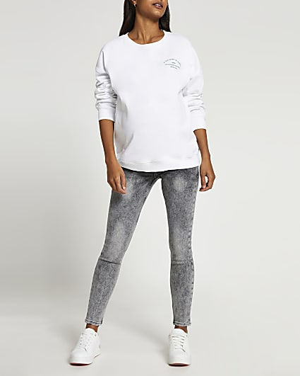 Grey washed skinny maternity jeans