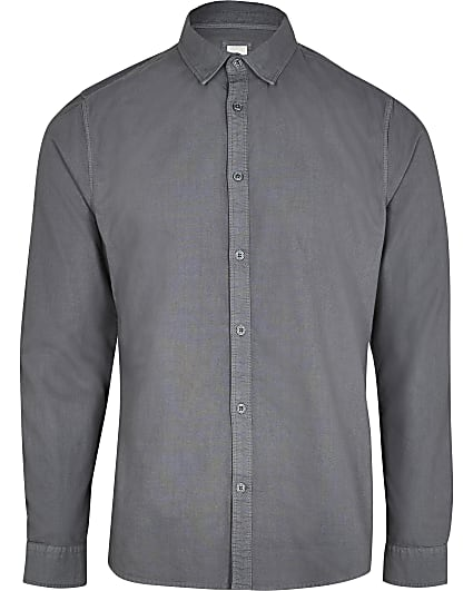 Grey washed slim fit Oxford shirt