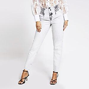 Grijze  smaltoelopende washed jeans met hoge taille