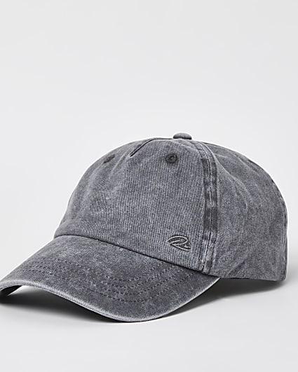 Grey washed twill cap
