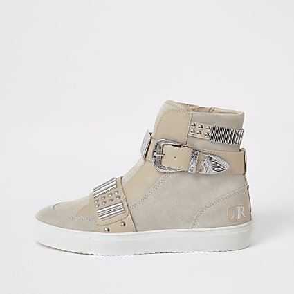 Grey western high top trainer