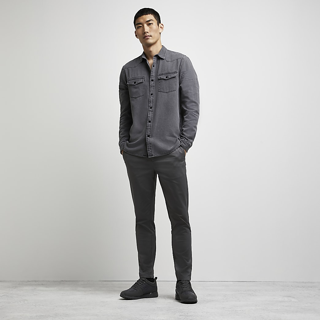 Grey western long sleeve shirt