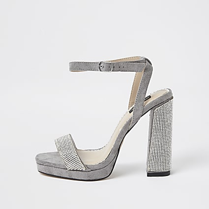 Grey wide fit diamante platform heel