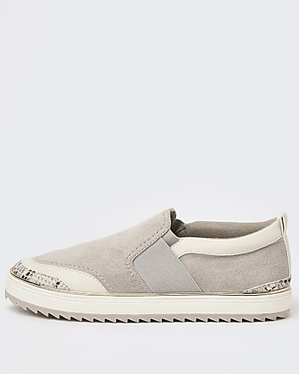 Grey wide fit slip on trainers