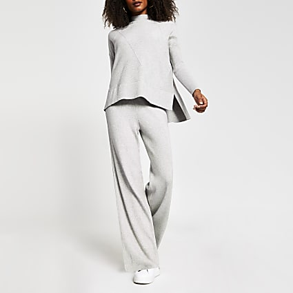 Grey wide leg ribbed knit trousers