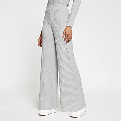 Grey wide leg ribbed trousers