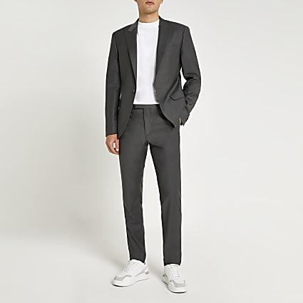 Grey wool skinny fit suit trousers