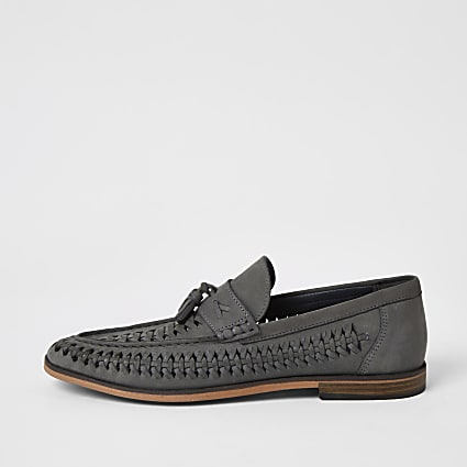 Grey woven tassel wide fit loafers