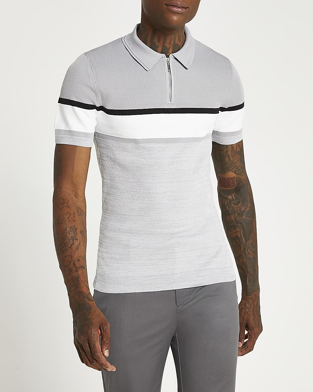 Grey zip colour block short sleeve polo shirt