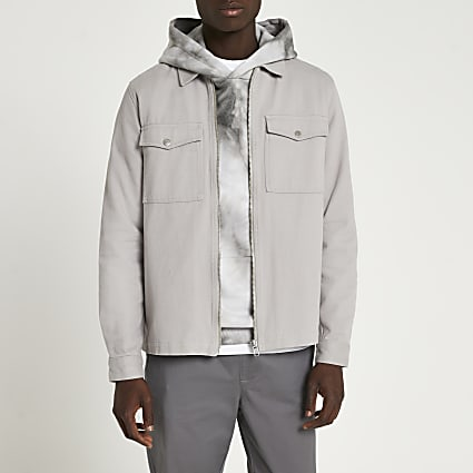 Grey zip front long sleeve overshirt jacket